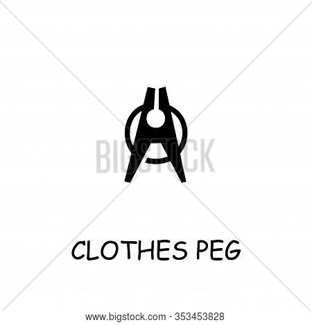Clothes Peg Flat Vector Icon. Hand Drawn Style Design Illustrations.
