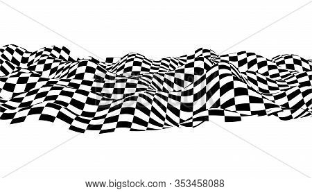 Optical Illusion Wave. Chess Waves Board. Abstract 3D Black And White Illusions. Horizontal Lines St