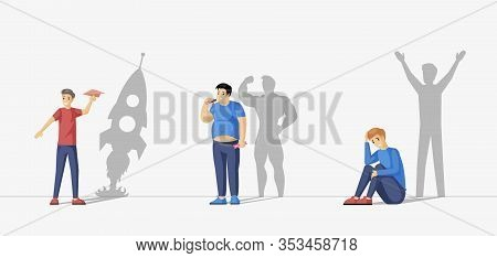 Hidden Potential Vector Flat Concept. Depression Treatment, Personal Growth, Personal Coach And Appe