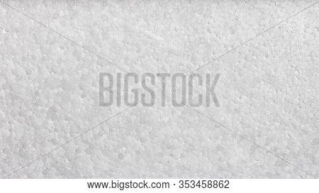 Polystyrene Or Styrofoam Texture Background. Detail Of Styrene Foam Plastic Box Sheet. White Styrofo
