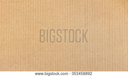 Paper Cardboard Background. Natural Corrugated Carton Sheet. Kraft Cardboard Texture With Vertical S