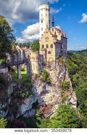 Lichtenstein Castle With High Bridge, Germany. It Is A Tourist Attraction Of Germany. Scenic View Of