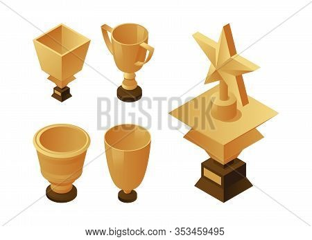 Set Of Golden Cups And Trophies On Wooden Pedestal. Gold Awards Vector Isometric Illustration. Profe