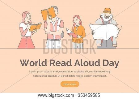 World Read Aloud Day Vector Banner Template. Intelligent People Reading Books, Newspapers, And Magaz