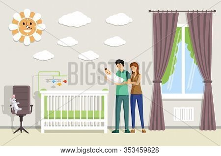 Happy Smiling Parents Holding Newborn Baby In Hands And Standing In Baby Room Vector Flat Illustrati