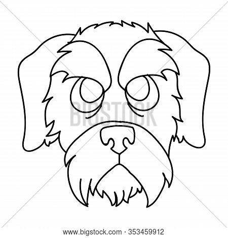 Cute Cartoon Monochrome Schnauzer Puppy Dog Face Breed Lineart Vector Clipart. Pedigree Doggie Breed