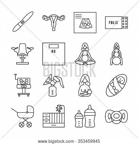 Pregnancy And Childbirth Line Vector Icon Set. Group Of Objects About Pregnancy And The Birth Of A B