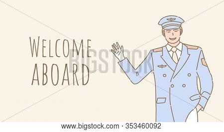 Welcome Aboard Vector Cartoon Banner Design With Text Space. Smiling Pilot In Uniform Welcoming You