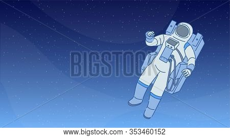 Cosmonaut In A Spacesuit With Space Equipment Walking Among Stars And Planets In Open Space. Human S