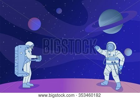 Two Astronauts In Spacesuits With Space Equipment Standing On Planet Or Star And Doing Space Researc