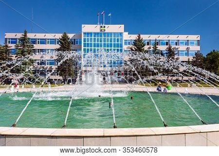 Anapa, Russia - May 29, 2017: Fountain Complex In Front Of Anapa City Resort Administration Building