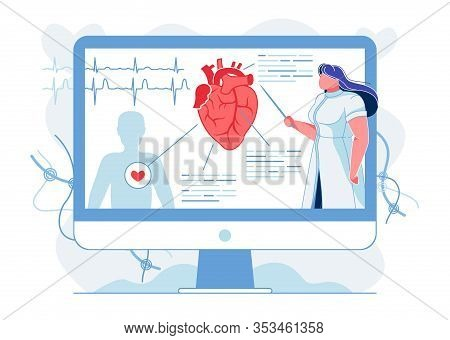 Heart Anatomy Explanation Flat Vector Illustration. Doctor, Cardiologist Making Presentation On Huma