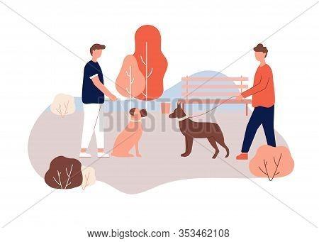 Cartoon Man Owner Walk Dog In Park, Holding Leash In Hand, Doberman Boxer Breed In Collar Vector Ill