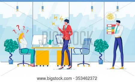 Work Error, Boss Reaction Flat Vector Illustration. Dissatisfied Chief And Confused Office Workers F