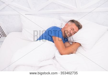 Peaceful Mature Man Relaxing. Good Sleep Is Reachable Dream. World Sleep Day. Benefits Of Good And H
