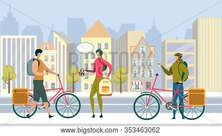 Summer Time City Life, Eco Transport. Young Men Driving Bicycle, Woman Holding Backpack And Bike Hel