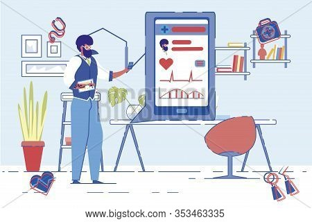Cardiologist Or Specialist In Cardiovascular Diseases Conducts Online Consultations Or Makes Present