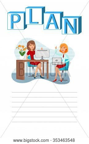 Business Planning, Brainstorm Vector Illustration. Businesswoman With Subordinate Sitting On Chairs