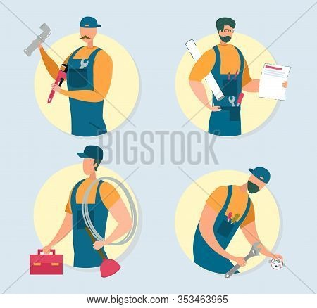 Set Of Handymen Isolated On Grey Background. Repair Masters Wearing Blue Overalls And Hat Holding Di