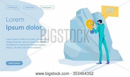 Businessman Cartoon Character Finding Creative Solution For Overcoming Obstacle. Bright Ideas And Sm