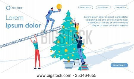 Business People Decorating Christmas Tree With Electric Bulbs Symbols. Company Annual Report And Suc