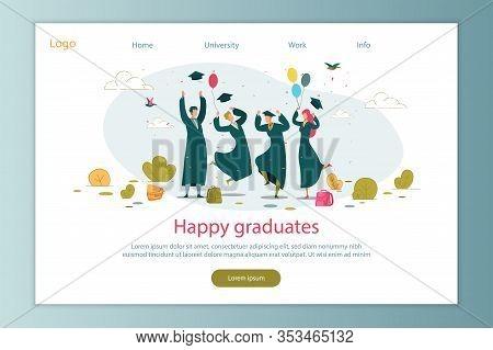 Happy Graduates Celebration Flat Cartoon Vector Illustration. Boys And Girl Finishing University, Ju