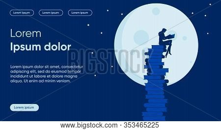 Night Learning Flat Landing Page Vector Template. Self Development And Improvement, Personal Growth,
