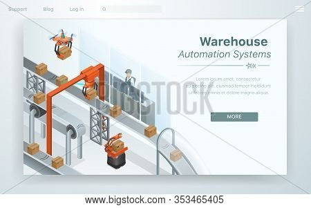 Flat Web Cartoon Warehouse Automation System. Factory Worker Ensures That Robot Reads Barcode Correc