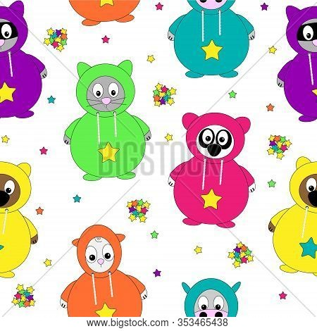 Cute Seamless Vector Illustration Pattern Of Cartoon Animals In Snug Onesie Jumpsuit Pajama Loungewe