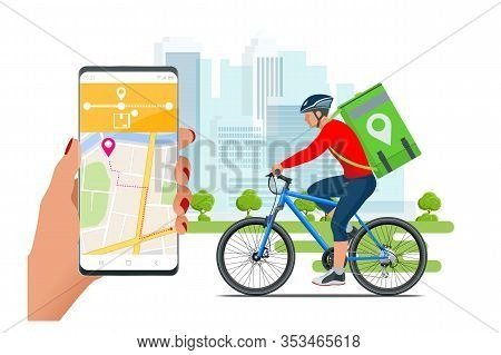 Bicycle Courier, Express Delivery Service. Courier On Bicycle With Parcel Box On The Back Delivering