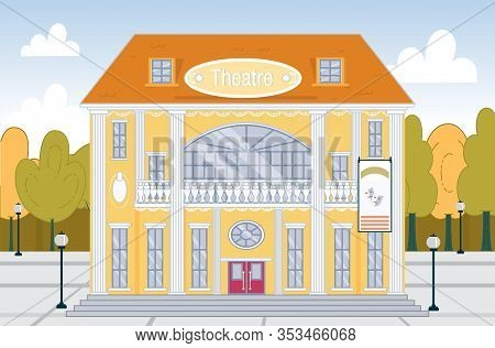 Dramatic Or Music Theatre Classical Building Exterior With Green Park Around. Historical Monument Fa