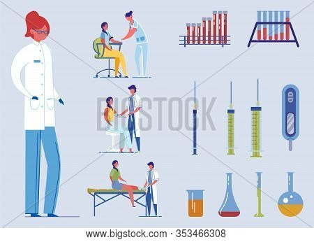 Nurse And Doctor Set With Single Character, Medical Tools And Facilities And Medical Assistance Scen