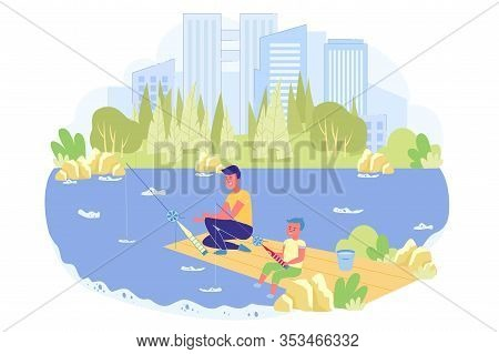Brothers Are Fishing In Beautiful Park With Pond. Teenager With Younger Brother Are Sitting On Pier