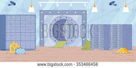 Bank Vault Room Interior Background With Metal Safe Door And Racks With Bank Deposit Boxes. Secure S