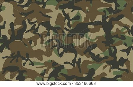Camouflage Seamless Pattern. Classic Clothing Style Masking Camo Repeat Print. Green Brown Black Oli