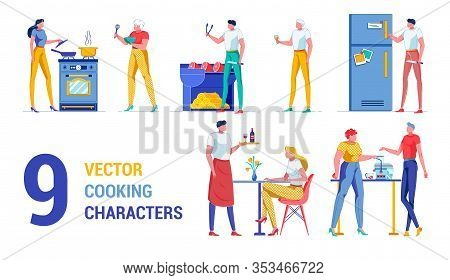 Nine Vector Cooking Character At Kitchen And Home. Girl By Stove Hold Cover From Skillet, Elderly Wo