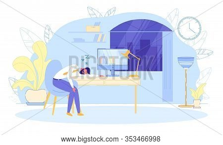 Office Worker Sleeping At Workplace Flat Cartoon Vector Illustration. Exhausted Man Fell Asleep At T