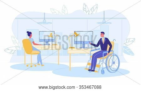 Disabled People Employment, Occupation And Effective Socialization. Man And Woman Characters - Healt