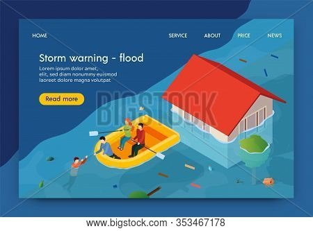 Flat Banner Is Written Storm Warning Flood 3d. Men And Women Float On Flooded Streets. People Save D