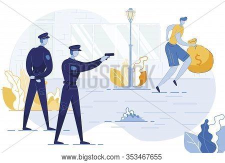 Policeman Shooting In Robber Vector Illustration. Police Officers Persecuting Burglar Cartoon Charac