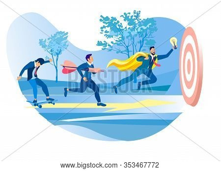 Business People Moving By Yellow Arrow To Common Target. Men Working Process For Reach Aim And Succe