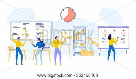 Planning Work, Time Management Company Business. Man And Woman Discuss Tasks On Display. Guy Analyze