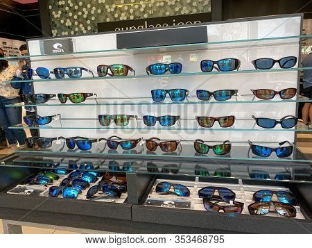 Orlando,fl/usa-2/17/20: A Display Of Costa  Sunglasses At Sunglass Hut Retail Store At A Mall.  Sung