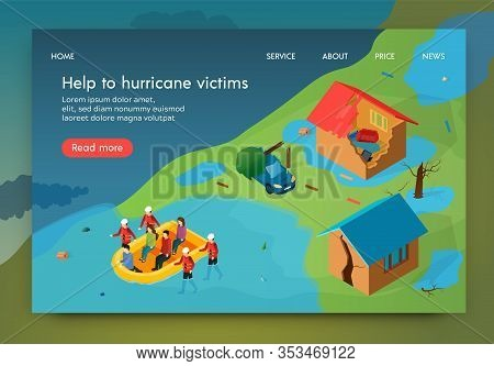 Isometric Is Written Help To Hurricane Victims. Rescue Service Evacuates Residents From Homes Destro