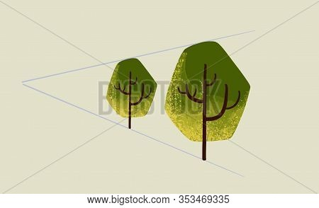 Trees In Perspective With Perspective Lines, One Vanishing Point. Isolated On Yellow Background