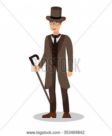 Elegant Englishman, Gentleman Vector Illustration. Young Man In Formal Clothing Cartoon Character. D
