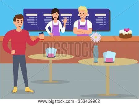 Professional Cafe Service Satisfied Customer Ad Banner Vector Friendly Sellers Woman Waitress Male B