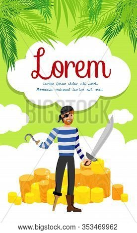 Active Leisure Agency Flyer, Brochure Template. Man In Striped T Shirt And Eyepatch Cartoon Characte