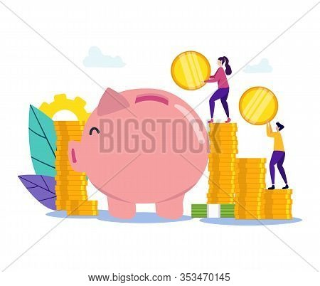 Man And Woman With Coin In Hand Near Piggy Bank. People With Coin. Movement Toward Goal. Vector Illu