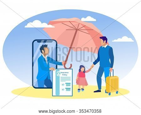 Insurance Agent On Smartphone Screen With Pink Umbrella And Father With Daughter. Insurance Policy.